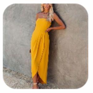 Vici Aglow Draped Midi Dress